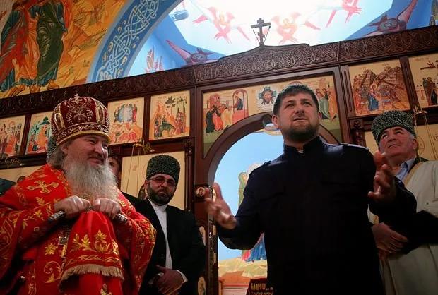 Кадыров на открытии православного храма в Чечне
