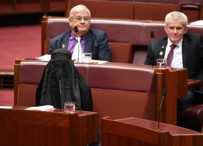 Политик-националист устроила паранджа-шоу в сенате