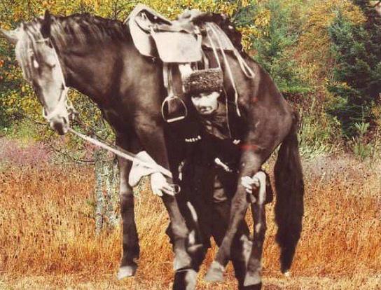Легендарный богатырь Азнур Лиев. До 60 лет без особых усилий поднимал и носил на плечах лошадь с всадником в седле