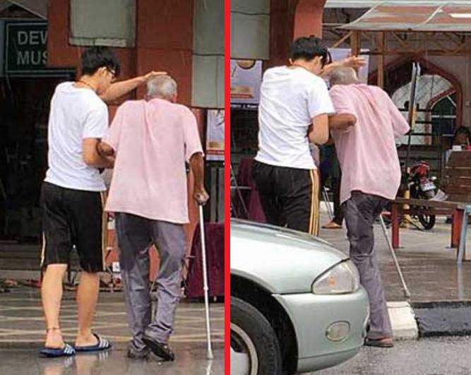 Кадр поступка юноши с дедушкой
