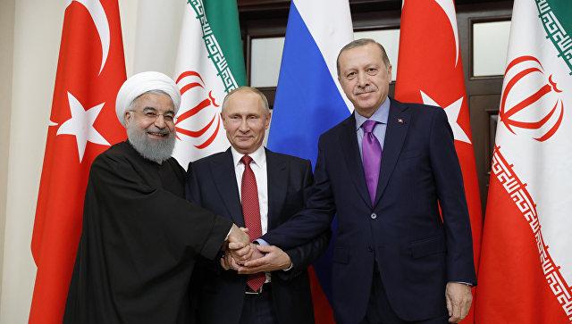 Хасан Роухани, Владимир Путин и Реджеп Тайип Эрдоган (Фото:  пресс-служба Кремля)