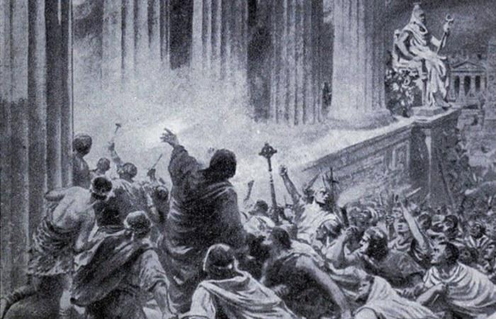 Христиане уничтожают Александрийскую библиотеку