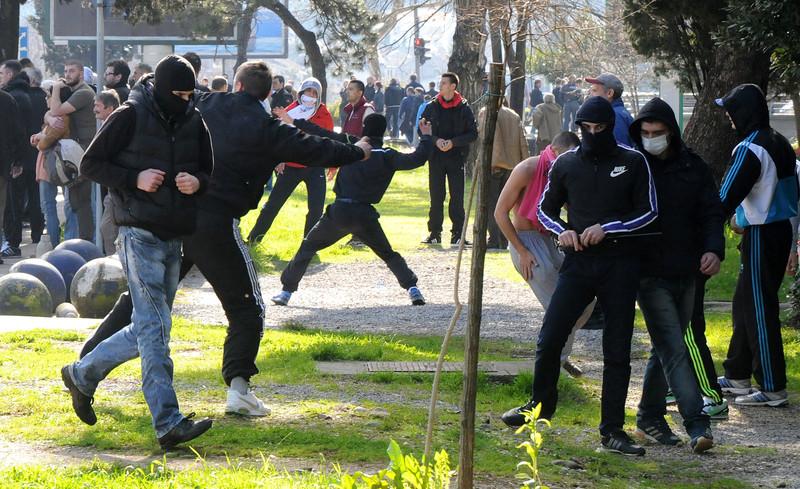 Участники антиправительственной акции в Черногории (фото - ЕРА)