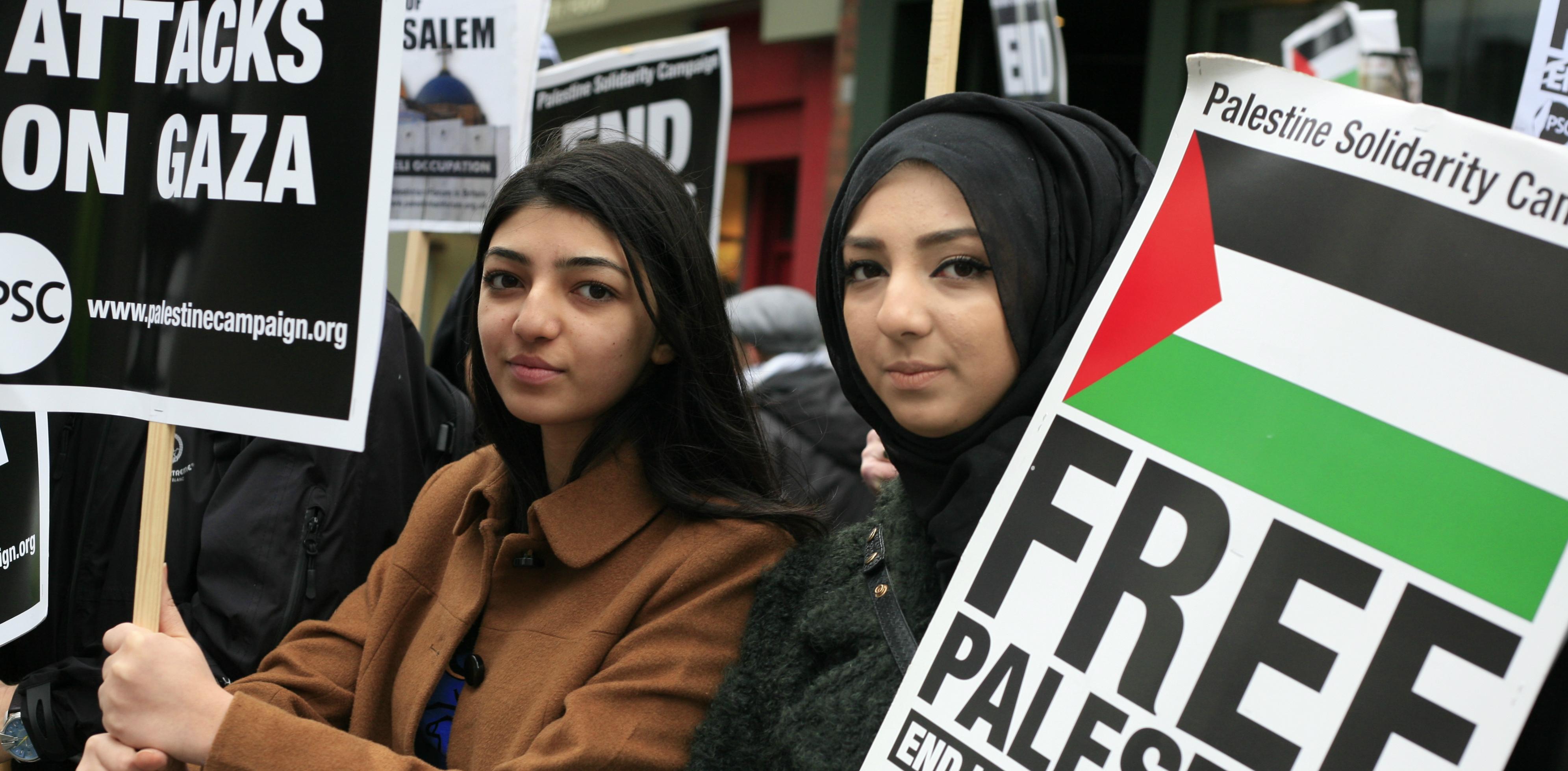 Участники митинга в поддержку палестинцев