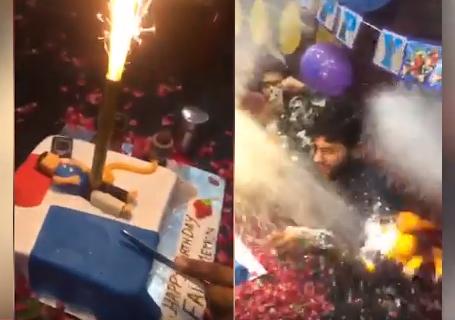 В Пакистане именинник едва не сгорел, задувая свечу на вульгарном торте (ВИДЕО)