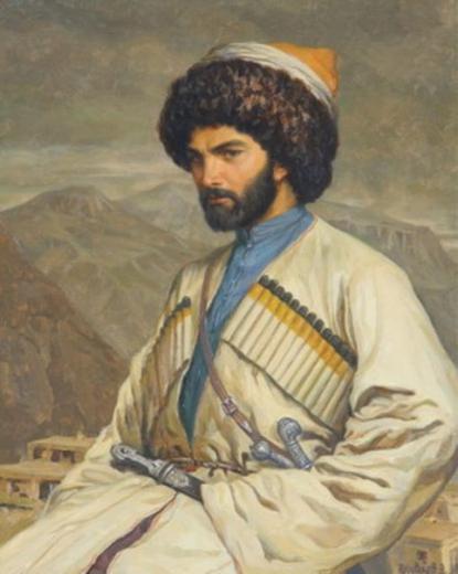 Хаджи-Мурат на фоне села Хунзах. Рисунок Г. Г. Гагарина, 1848
