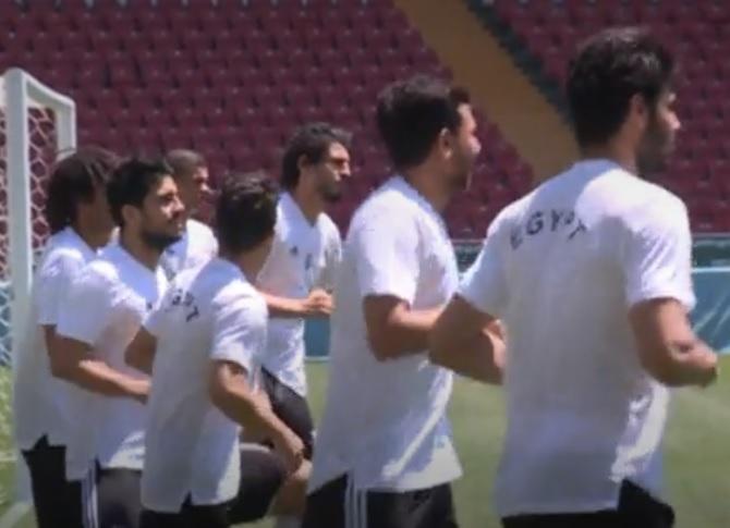 В Сеть уплыло видео тренировки сборной Египта в Грозном перед матчем с саудовцами