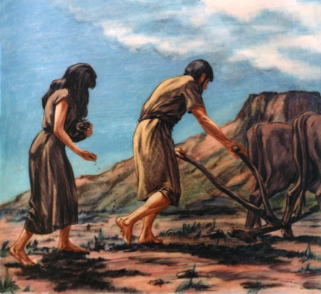 Адам и Ева за работой после изгнания из Эдема