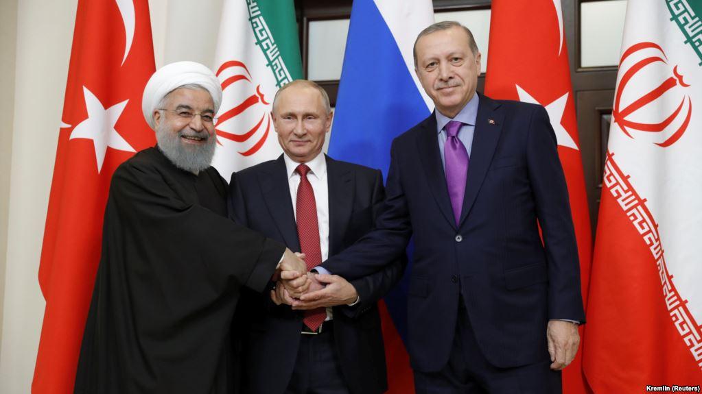 Хасан Роухани, Владимир Путин и Реджеп Эрдоган провели встречу в Сочи, 22 ноября 2017