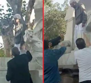 Салафит решил отпилить лицо и грудь каменной женщине – чем все закончилось (ВИДЕО)