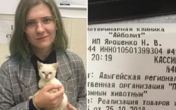 Добросердечная жительница Адыгеи заплатила 340 тысяч рублей, чтобы спасти котенка