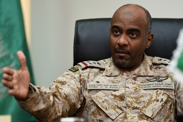 Saudi Brigadier General Ahmed Assiri, spokesman for the Saudi-led coalition forces fighting rebels in Yemen, gives an interview to AFP at the King Salman airbase in central Riyadh, on March 16, 2016. (Photo by FAYEZ NURELDINE / AFP)
