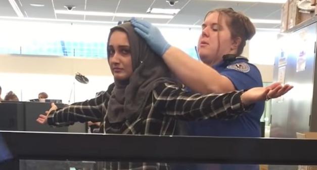 Досмотр мусульманки в аэропорту