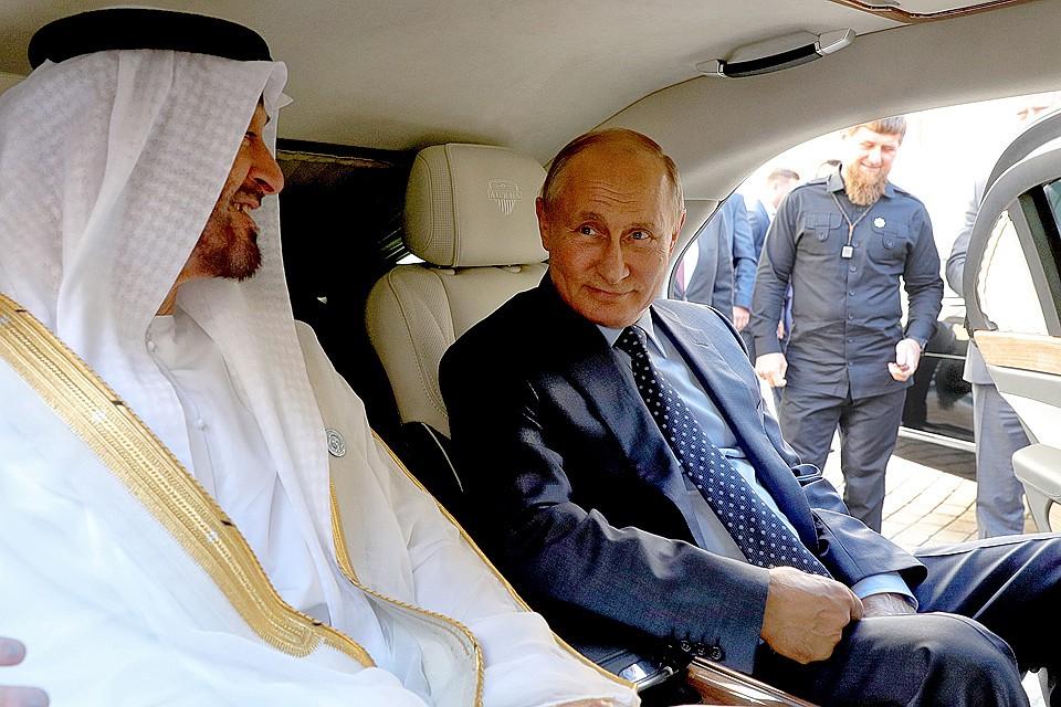 Наследный принц ОАЭ и президент Путин в салоне Ауруса