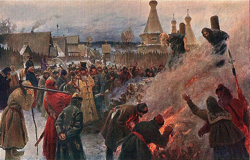 Сожжение духовного лидера староверов протопопа Аввакума и его сподвижников