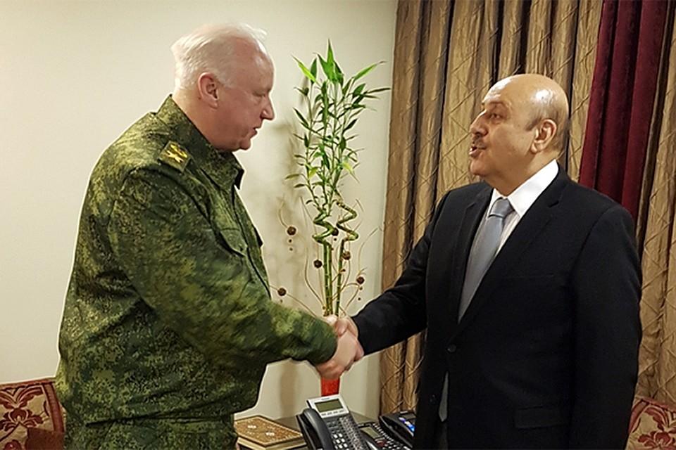 Глава СКР и сирийский чиновник (архивное фото)
