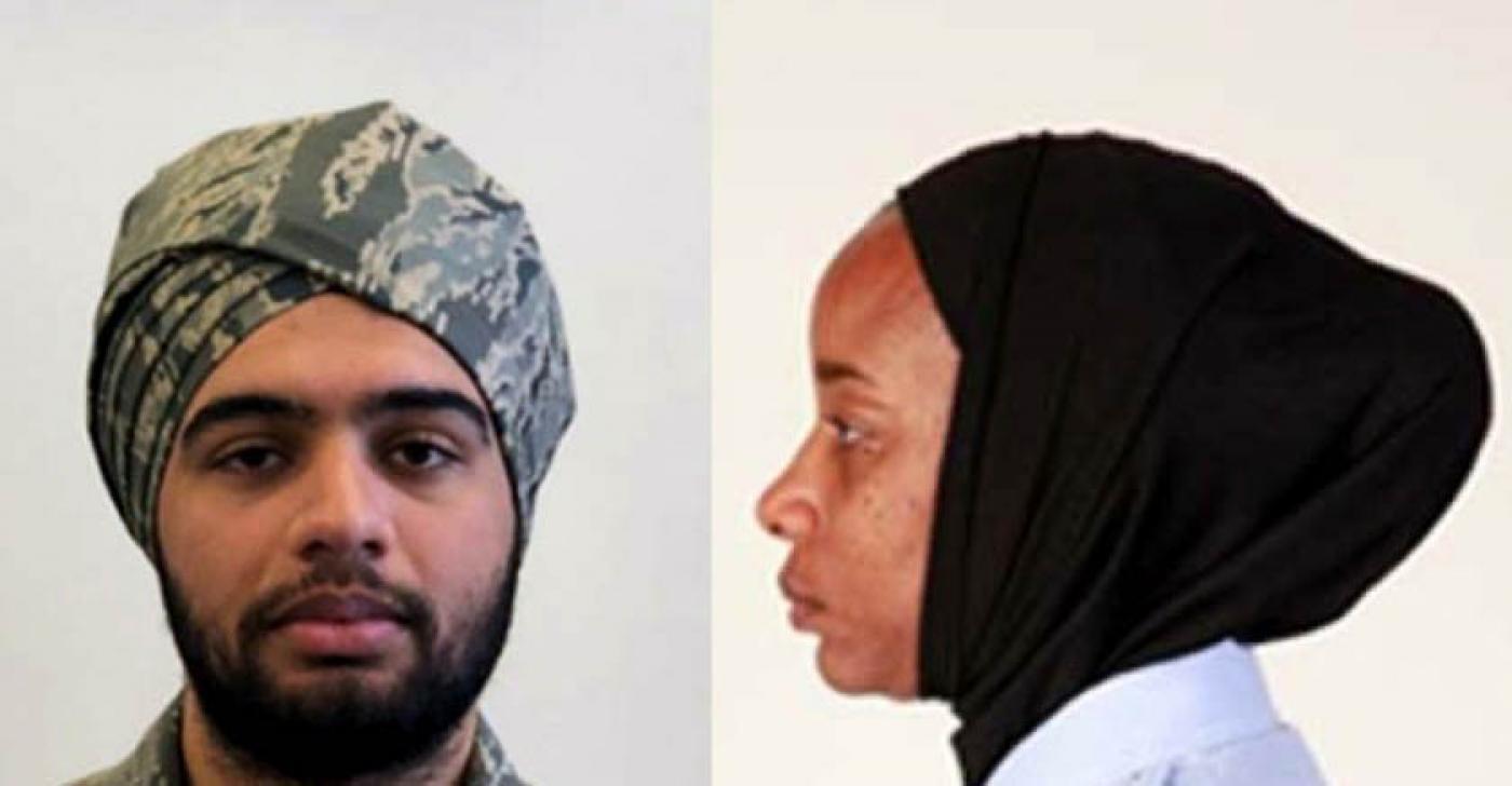 Образцы тюрбана и хиджаба, приемлемых в ВВС США