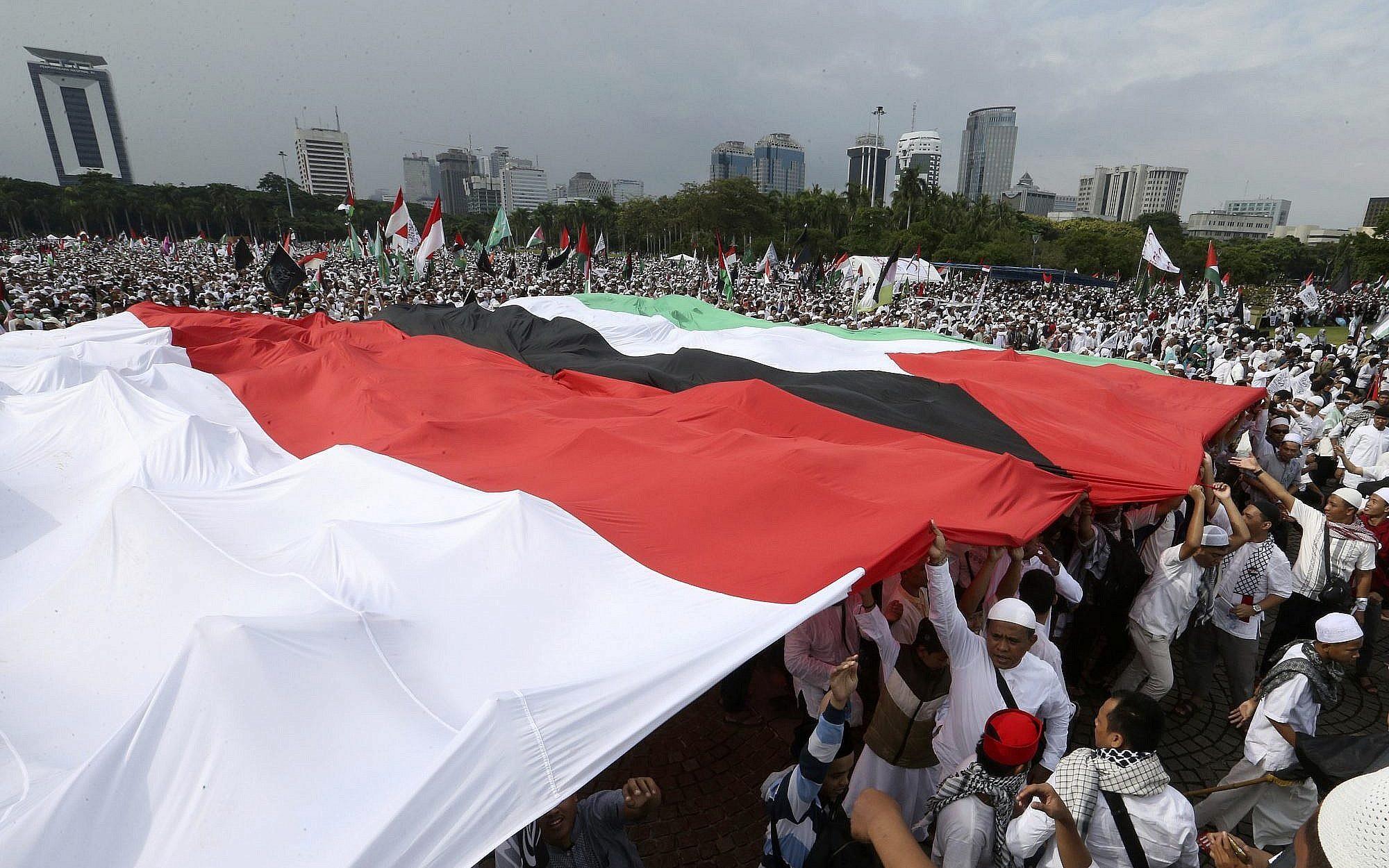 Жители Индонезии во время акции в поддержку Палестины