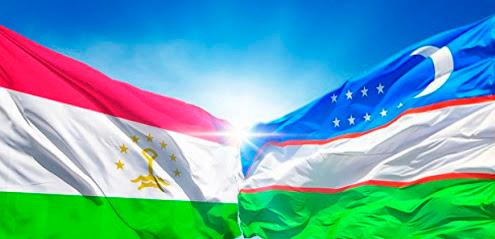 Флаги Таджикистана и Узбекистана