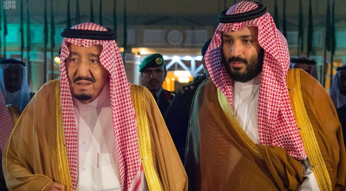 Король Салман со своим сыном, наследным принцем Мухаммедом