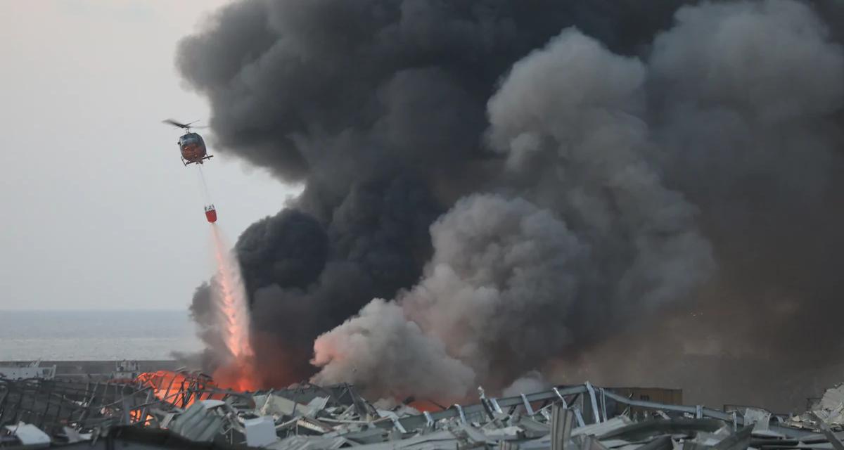Тушение пожара на месте взрыва