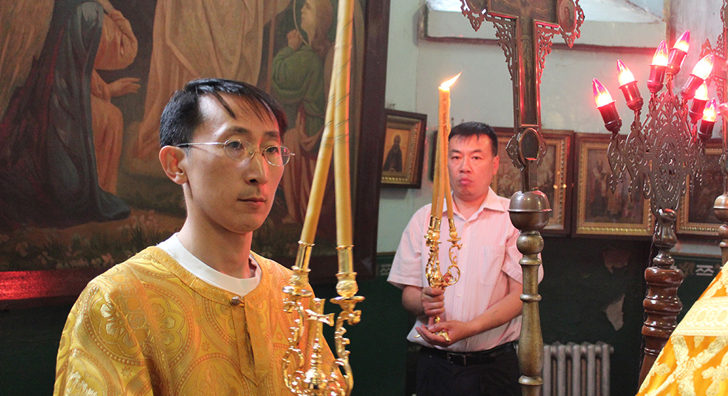 Православная служба в одном из храмов Китая
