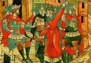Ордынский хан и русские князья. На голове хана символ царской власти – корона. Рисунок из древнерусской летописи