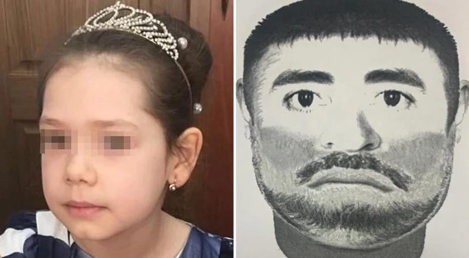 Калимат Омарова и фотопортрет предполагаемого убийцы